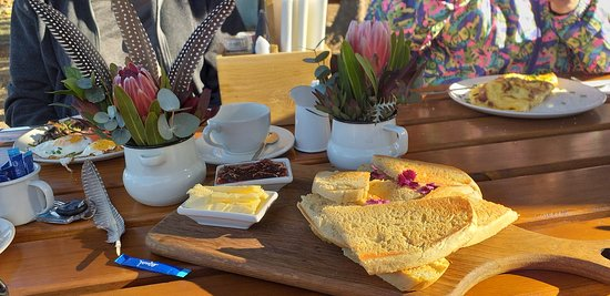 fresh farm bread farm butter and jam