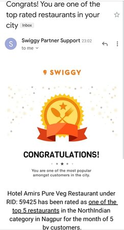 We have been rated one of the top 5 North Indian Restaurants in the city by Swiggy for the month of May 2019! We thank all our customers for your continued patronage. It just wouldn't be possible without you. We hope for your support in future too. #Thanksalot #Weexistbecauseofyou #Bestvegfoodintown