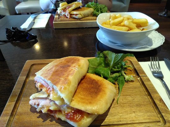 Ham, cheese and chutney with chips of course
