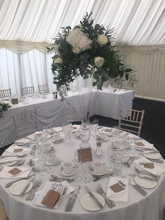 Marquee all set for a wedding reception in the grounds of Pontlands Park Hotel