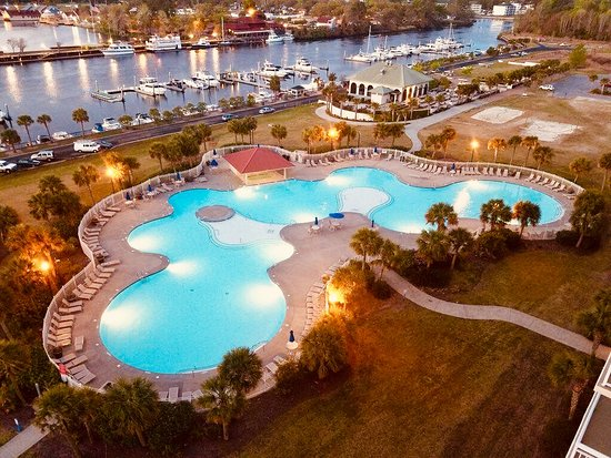 North Myrtle Beach, SC: View of the North Tower 350,000 gallon pool and full-service marina.