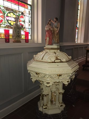 Baptismal Fountain....when in use the lid will open to reveal the Holy Water inside
