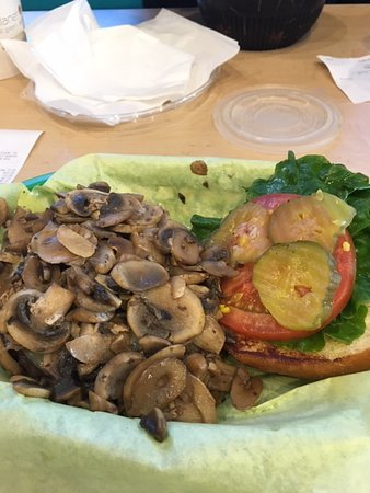 Mushroom smothered burger at Sylvester's