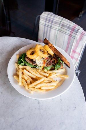Mayfair Lane Pub & Dining Room: The Mayfair steak sandwich, Stirling Ranges scotch fillet cooked medium, mushroom ragu, 3 cheese sauce, crispy onion rings, sourdough