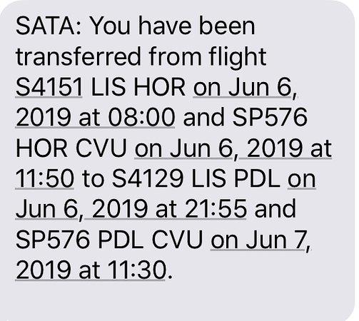 SATA International: SMS sent by SATA to the passengers