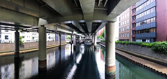 橋の上を高速が跨ぐ。日本橋は奥に見える橋、橋脚の間からクルーズ船も見えている。