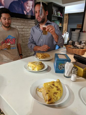 Tapas Tour in Madrid: First stop, omelette.  Fantastic!