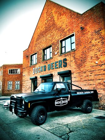 The Docks Beers brewery and taproom with the inimitable Docks pick up parked up.