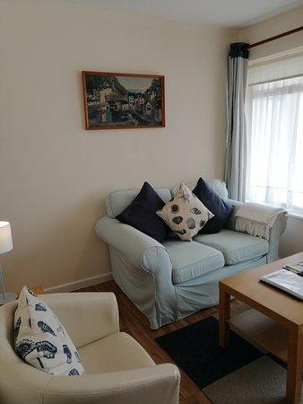 Golden Acre Jurassic Coastal Lodges: Ammonite Comfortable Lounge Area with large Flat screen TV