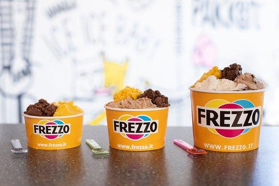 Frezzo: Links: bakje met maximaal 2 smaken Midden: bakje met maximaal 3 smaken Rechts: bakje met maximaal 5 smaken