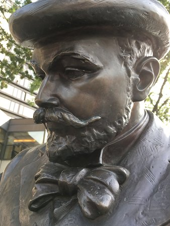Budapest: detail of a statue of a painter on the Korzó