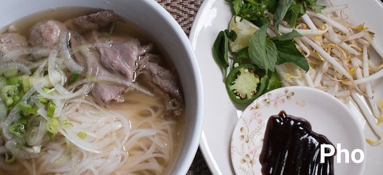 Rice Noodles, thinly sliced beef brisket, meatballs, and tripe