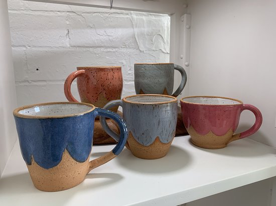 Mugs by Patch Design Studios (Heather). Just a sampling of the various styles that we have at the studio gallery store.
