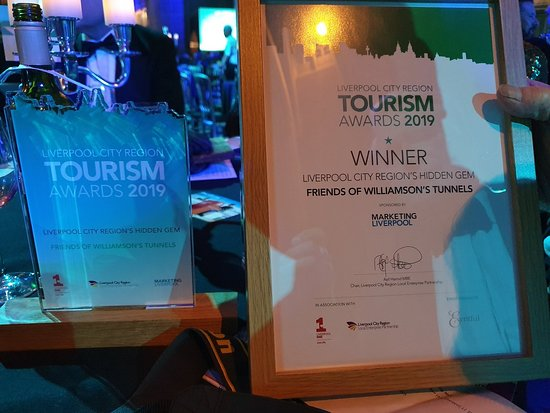 Friends of Williamson Tunnels receiving the Hidden Gem,  Liverpool City Region, Tourism Award 2019