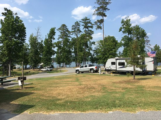 Arrowhead Campground: View of sites with lake view.