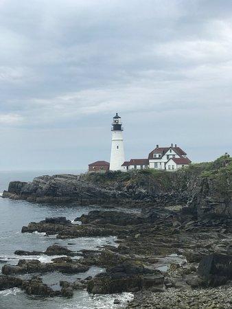 Portland Head Lighthouse and rocky shoreline