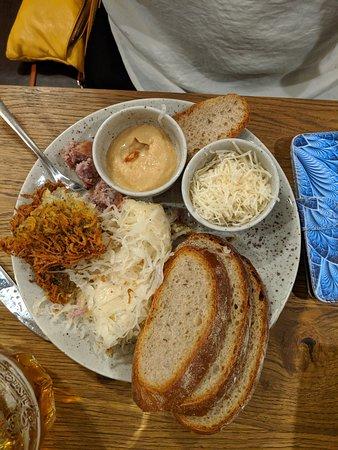 lunch, pickled cheese, pork sausage, potato pancake