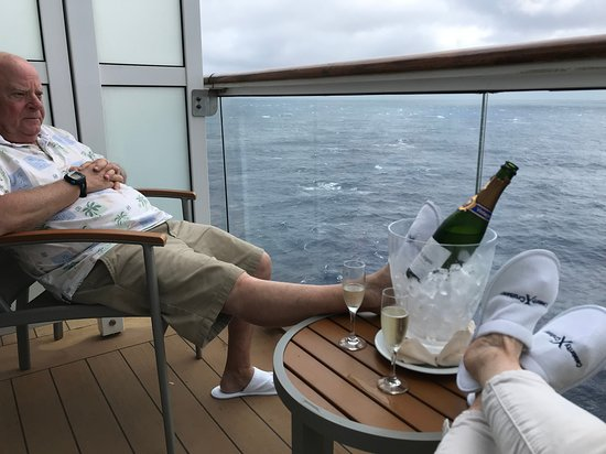 Celebrity Summit: Relaxing on the balcony with complimentary sparkling wine