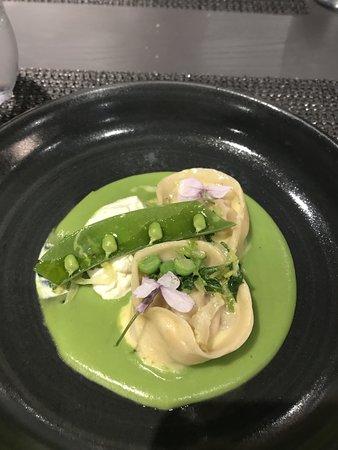 Pea & Ham veloute with tortellini