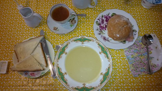 Aith, UK: A very reasonable portion of soup, oh, and a bacon roll to follow!