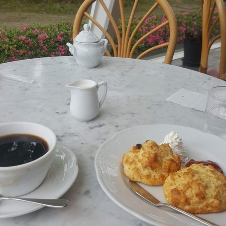 great scones and coffee in a lovely setting