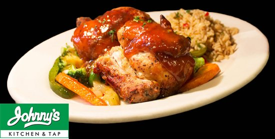 Try our amazing wood-fired rotisserie BBQ chicken! Make a reservation at johnnykitchenandtap.com or at 847-699-9999