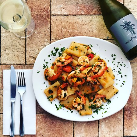 This weeks pasta special - Paccheri ai Gamberoni FRESH Lake entrance Prawns in a bisque and tomato sugo with chilli, garlic and parsley.