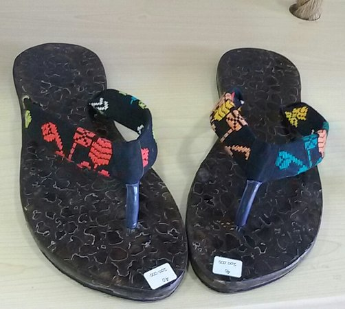 Handmade Coconut Sandals modify with woven textile