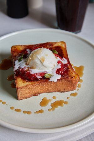 Cassette: Pain Perdu French toast. Pan roasted strawberries, vanilla ice cream, maple syrup