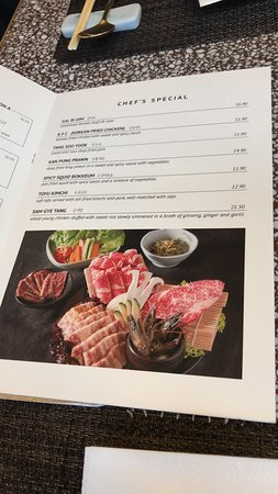 Part of the menu for Olle Korean bbq