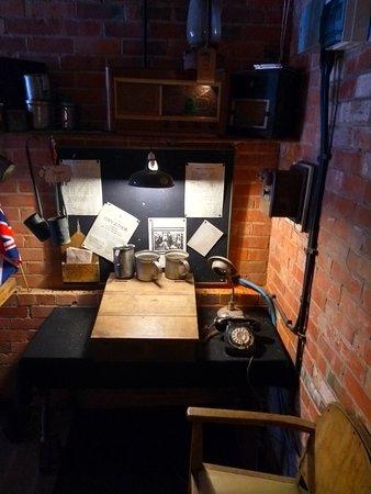 Inside the air raid shelter.