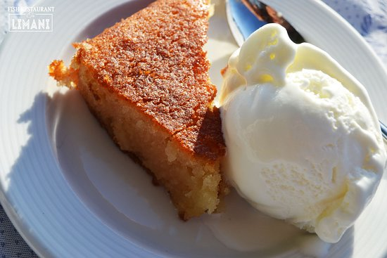 To Limani: Our offer- syrup cake with ice cream!