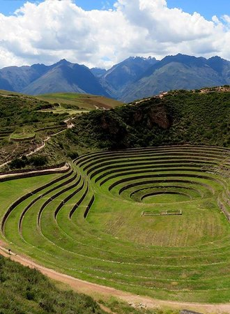 Cusco, Peru: The experimental base of Inca genetics located on the Moray platforms. Agriculture was the basis of Inca knowledge to supply the 26 million inhabitants throughout the Inca Empire. The Moray is one of the bases of genetic engineering where scientists adapted different plants and obtained hundreds of varieties of them.
