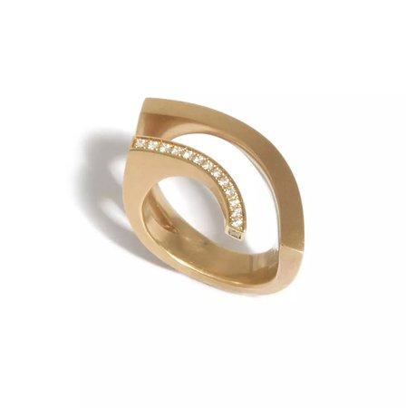 Angela Hubel 18k Rose Gold Rainbow Diamond Ring @ Designyard Dublin