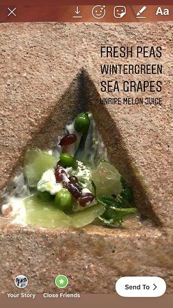 Peas, Sea Grapes, Melon Juice