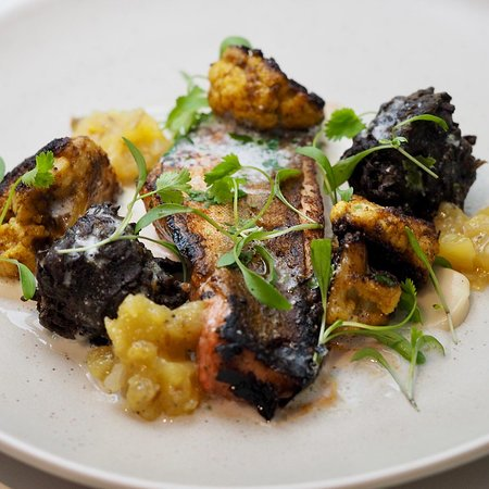 Tandoori gurnard, cauliflower, squid bhaji, coconut main course