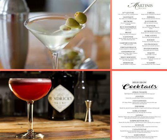 Check out one of our classic martinis or one of our new High Brow Cocktails.