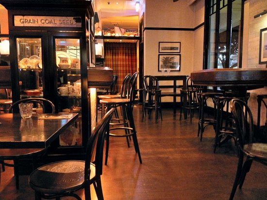 Atmospheric art deco themed bar