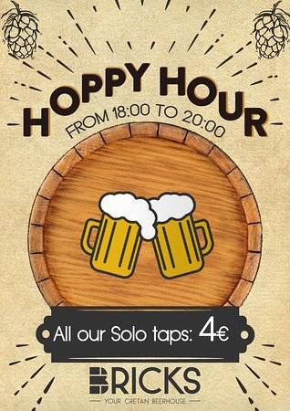 SUMMER OFFER!!  HOPPY HOUR EVERY DAY!  From 18:00-20:00  All our Solo taps foR 4 EUROS! CHEERS!