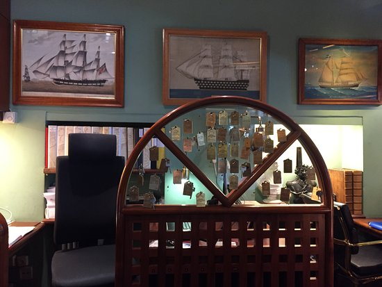 Victory Hotel: The reception desk.