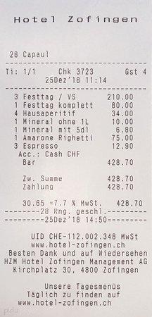 Rechnung für 4 Personen