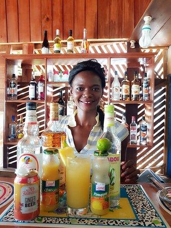 Lakka, סיירה ליאונה: Mariama, owner of Star Bar and bartender