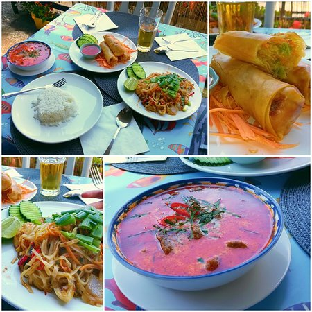 Panang nuah (made special for me...), Popia (spring rolls that were properly crispy!), Pod Ki Mao Kai (SPICY Thai noodles!)