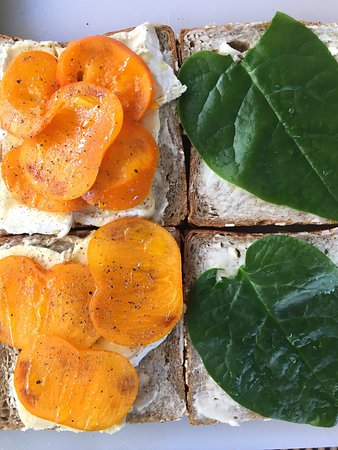 brie, persimmon, and spinach