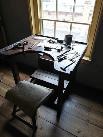 A workbench in the Levy house