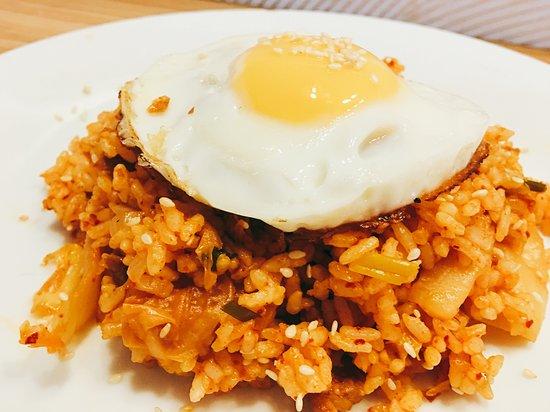 Kimchi fried rice using home made vegan kimchi
