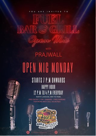 Fuel Bar & Grill: live music by Prajwall on every monday with open mic start from 7:30 to 11:00 pm