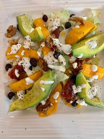 Mango avocado salad with a sour cream dressing