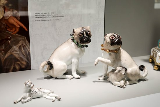 Gardiner Museum: Pair of Pug Dogs from the Royal Palace at Warsaw, 1741-1745, Germany, Meissen Porcelain Manufactory, Gift of George and Helen Gardiner, G83.1.668.1-2