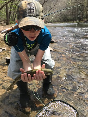 Knapp's Creek Trout Lodge: Hard to forget your first trout!